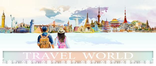 Картины ориентир мира путешествий популярной архитектуры мегаполиса.