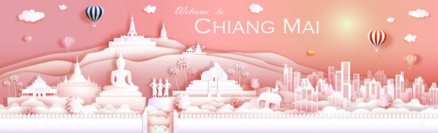 Путешествие ориентир культуры чиангмай таиланд с храмом