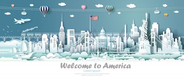 旅行パノラマビューのランドマークアメリカ合衆国。