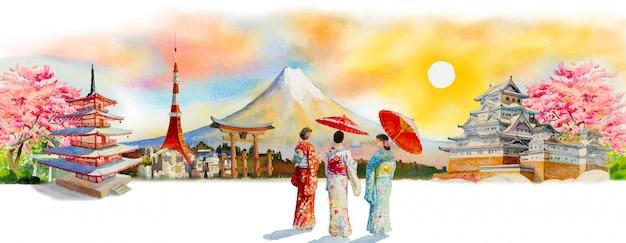 アジアの日本の有名なランドマークを旅行します。