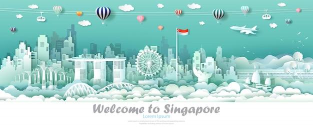 Векторная иллюстрация тур города сингапур с флагом сингапура.