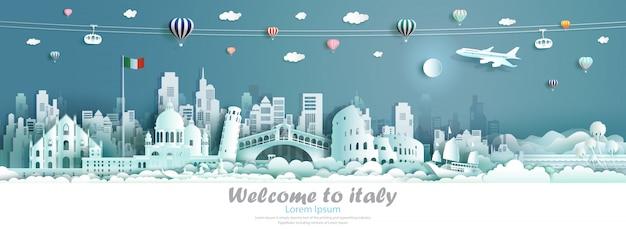 Векторная иллюстрация тур италии архитектура известных достопримечательностей европы.