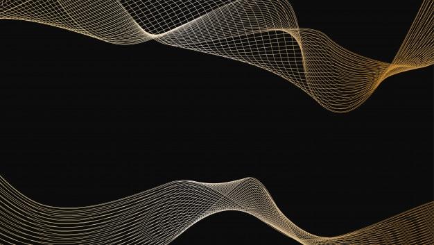 光沢のある金の豪華な波線の芸術のデザイン要素の要約