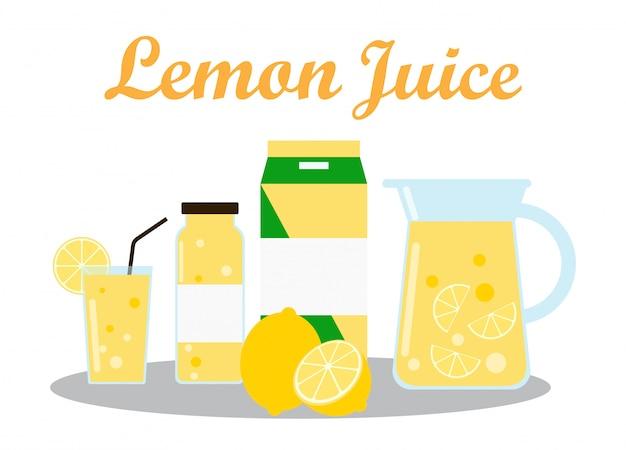 Лимонный сок с дизайном упаковки в упаковке