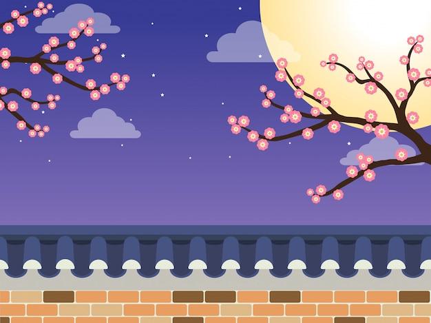 Забор из каменной стены в японском стиле с деревом сакуры