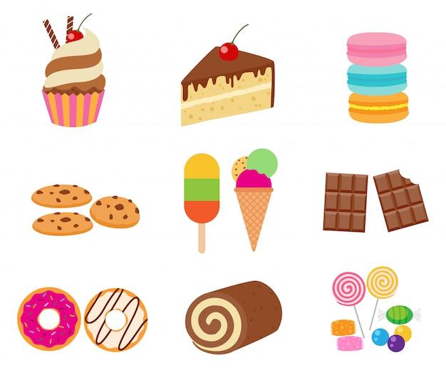 Коллекция сладкого десерта векторный набор