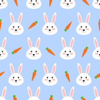 ニンジンとかわいい白いウサギのシームレスパターン