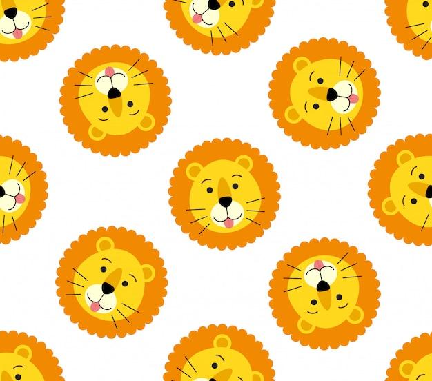 かわいいライオンヘッドのシームレスパターン