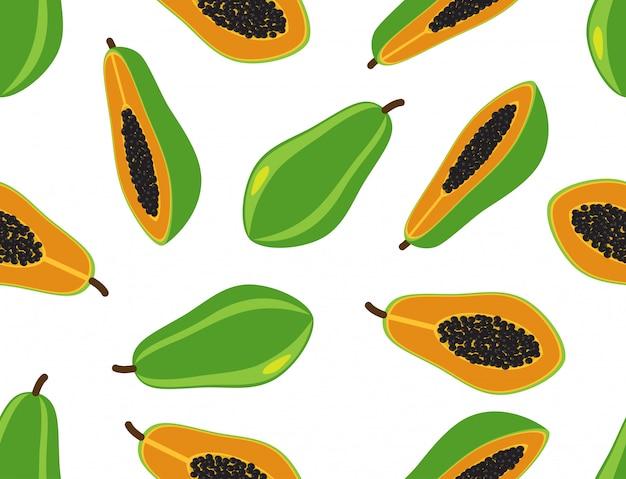 Бесшовные шаблон свежей папайи
