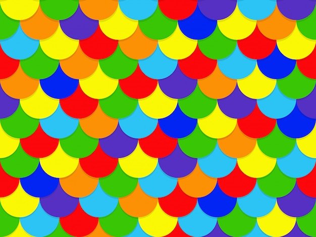 抽象的なシームレスな重複レインボーサークルパターン