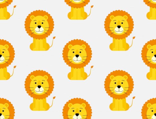 かわいい漫画のライオンの背景のシームレスパターン