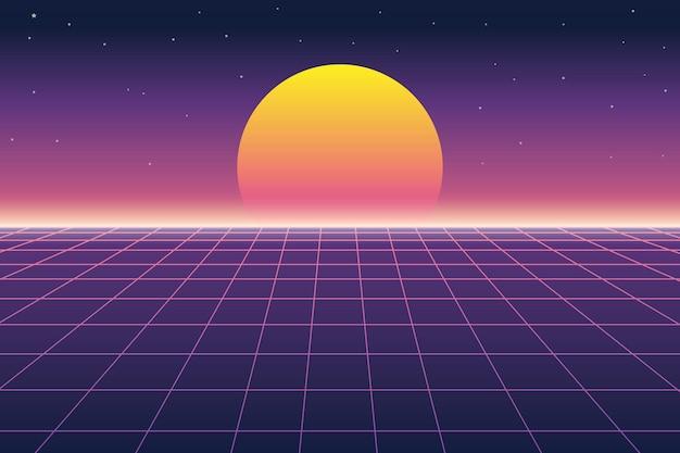 Солнце и цифровой пейзаж в ретро футуристическом фоне