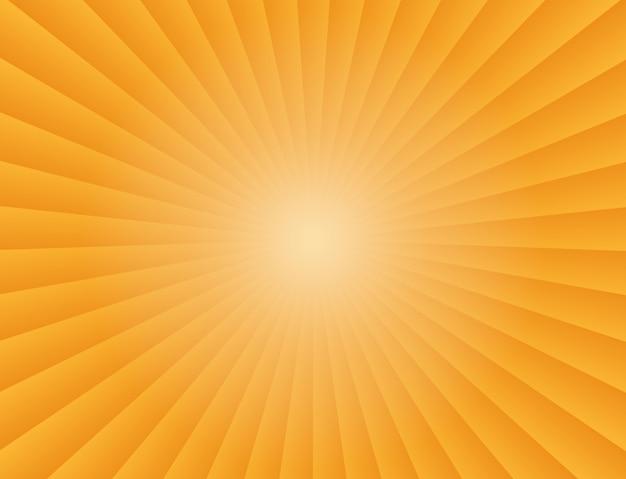 オレンジ色の背景の抽象的な太陽光線グラデーション光線