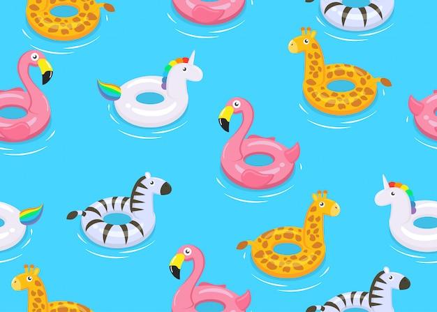 Бесшовные красочных животных плавает милые детские игрушки