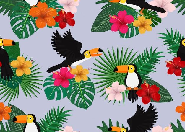 Бесшовный фон из тропических цветов с листьями и птицей тукан
