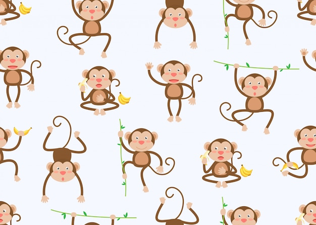Безшовная картина милого маленького шаржа обезьян в разных позах