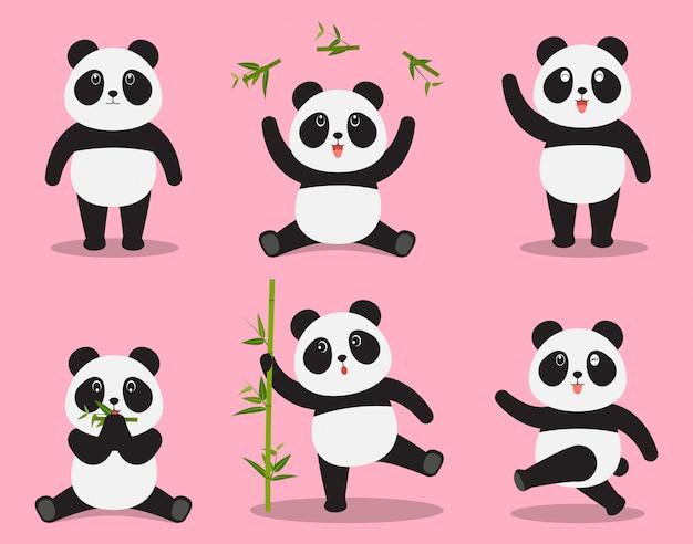 Симпатичные панда мультфильм вектор набор в разные эмоции