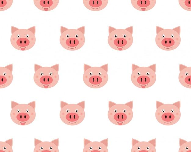 白い背景に分離されたかわいい顔豚のベクトルイラスト。