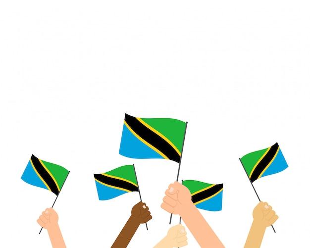 タンザニアの旗を保持している手