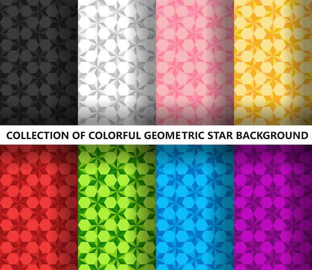 Коллекция бесшовных геометрических красочных звезд