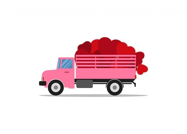 Иллюстрация грузовик нести форму сердца
