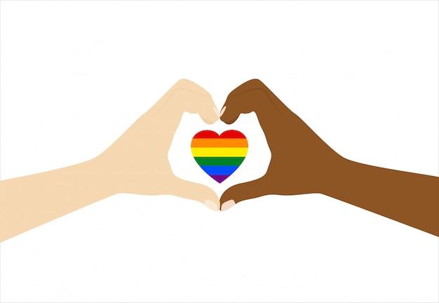 Руки делают знак любви с гордостью на белом фоне