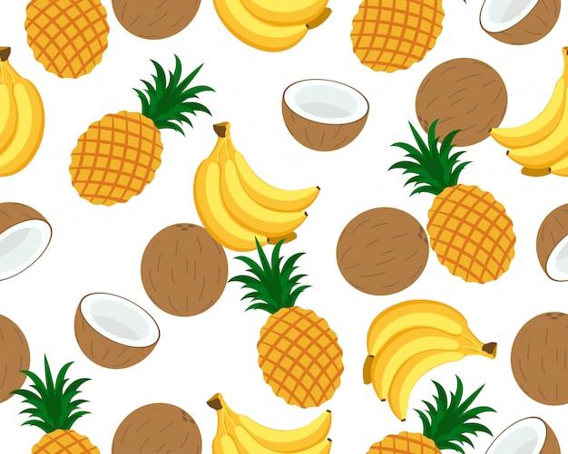 Бесшовный фон из многих тропических фруктов фона
