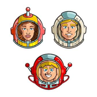 宇宙飛行士のヘルメットヘッドセット