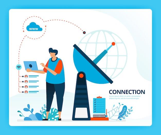 インターネット接続と通信用送信機の人間の漫画イラスト。