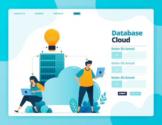 Целевая страница базы данных и облака.