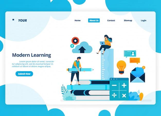 現代学習のランディングページのデザイン。隔離中の遠隔教育技術。