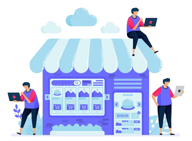 ショップや売店のブースがあるオンラインマーケットプレイスのイラスト。マーケットプレイスでアイテムを検索して比較します。