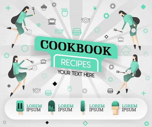 クックブックの簡単な本と緑のレシピ
