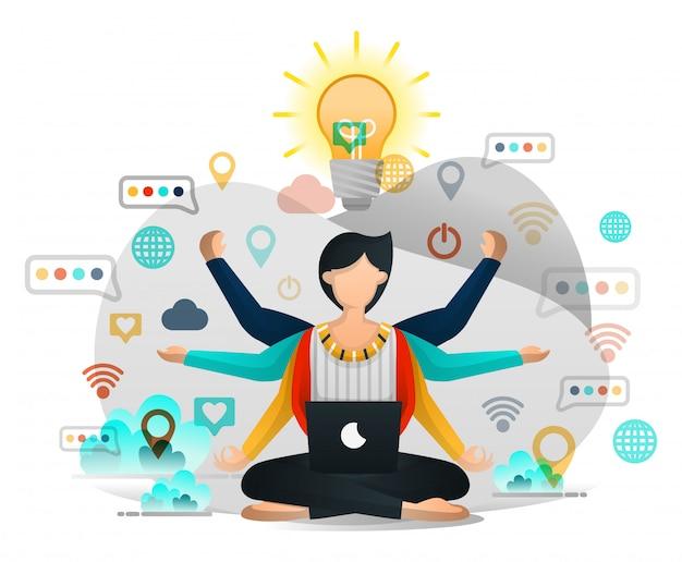 Работники, которые медитируют, ищут вдохновение