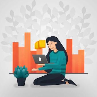 女性労働者がノートパソコンで書類を確認します。売上報告書チャート。