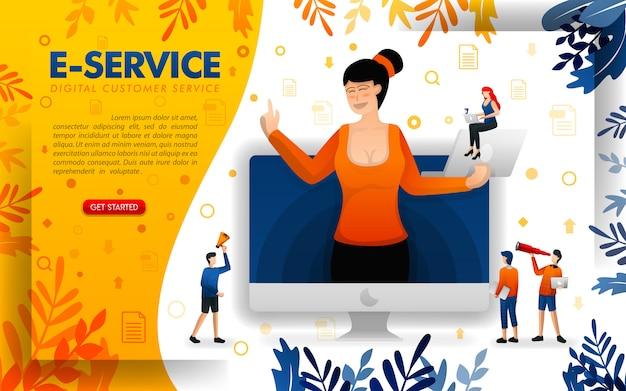 Цифровая услуга или электронное обслуживание, иллюстрация женского обслуживания клиентов