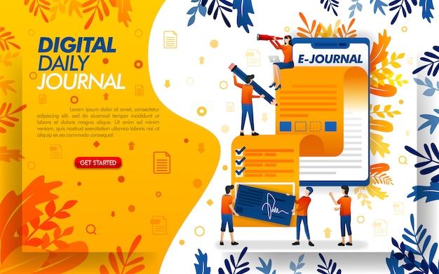 Мобильное приложение для иллюстрации для ежедневных журналов или блог для журналистики