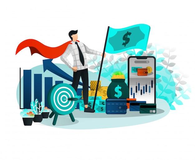 お金の旗を持つ起業家スーパーヒーロー