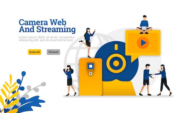 カメラとストリーミングウェブ、デジタルインターネットビデオおよびメディア開発のベクトル図