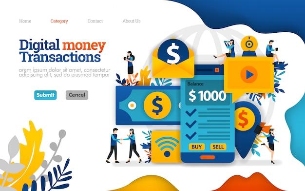 Шаблон целевой страницы. операции с цифровыми деньгами, отправка и получение с мобильного телефона. векторная иллюстрация