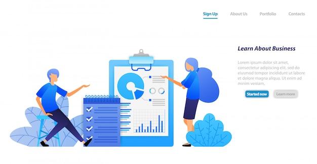 Веб-шаблон целевой страницы. люди изучают бизнес, анализируя данные и проверяя задачи обсуждения. поиск решения проблем.