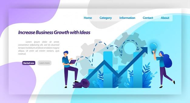 Увеличить рост бизнеса с идеей. финансовая диаграмма для увеличения стоимости компании и опыта в бизнесе. веб-шаблон целевой страницы
