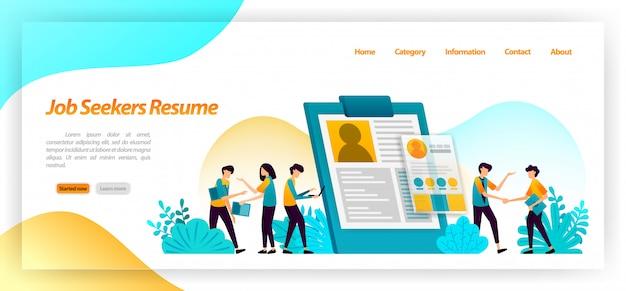 Резюме соискателей. анкета для поиска рабочих или служащих для собеседования в компании. веб-шаблон целевой страницы