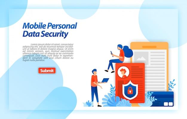 Защита персональных данных пользователя мобильного телефона для предотвращения взлома и неправомерного использования киберпреступности. блокировка и безопасность личных данных. веб-шаблон целевой страницы