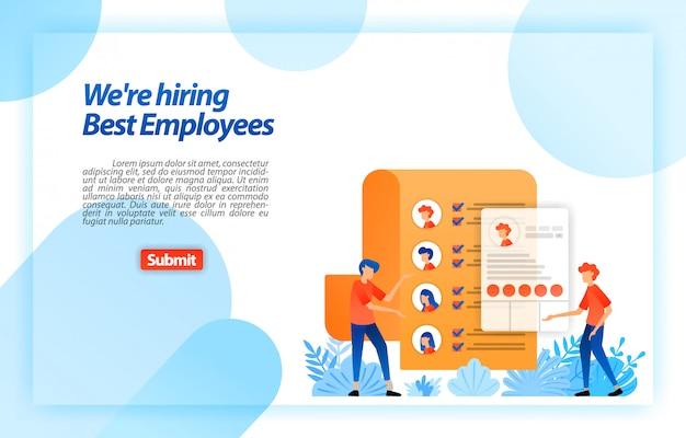 Соберите личные данные работника или ищущий работу возобновляет набор лучших потенциальных сотрудников. мы нанимаем. веб-шаблон целевой страницы