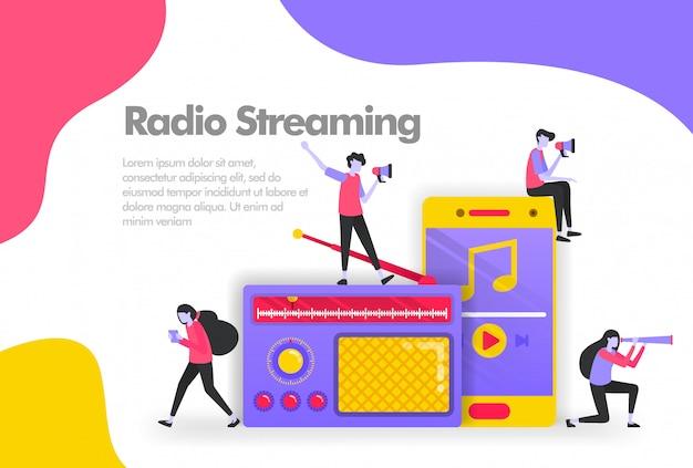音楽バナーを聴くための古いラジオとスマートフォンのアプリ