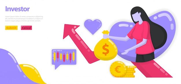 富を成長させるためにお金と資産を投資する投資家のイラスト。女性はお金やドルの袋、成長チャートを持っています。