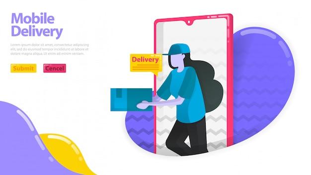 モバイル配信のイラスト。商品を配達する女性。モバイルスマートフォンから出てくる宅配便業者。配達注文アプリケーション。