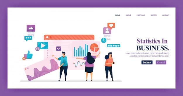 ビジネス統計のランディングページのデザイン