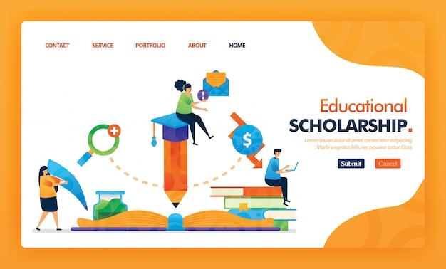 教育奨学金着陸ページ黄色ベクトル概念。